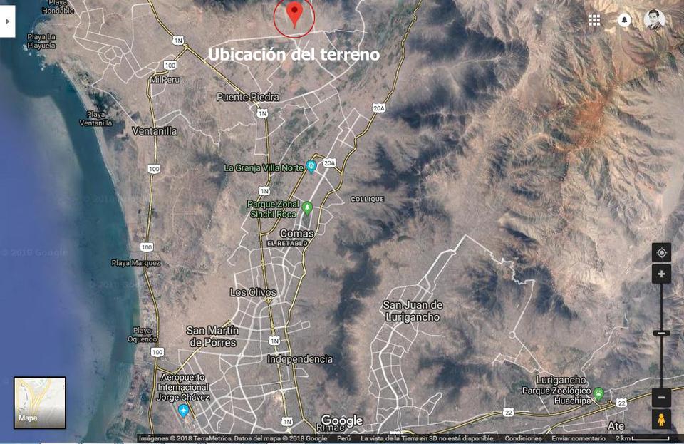 Venta de Terreno en Carabayllo, Lima 841730m2 area total - vista principal