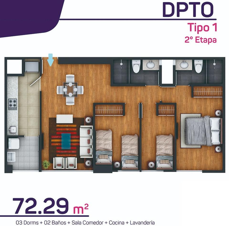 Venta de Departamento en Surquillo, Lima - con 2 baños