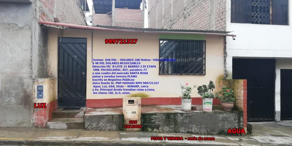Venta de Terreno en Villa El Salvador, Lima 152m2 area total