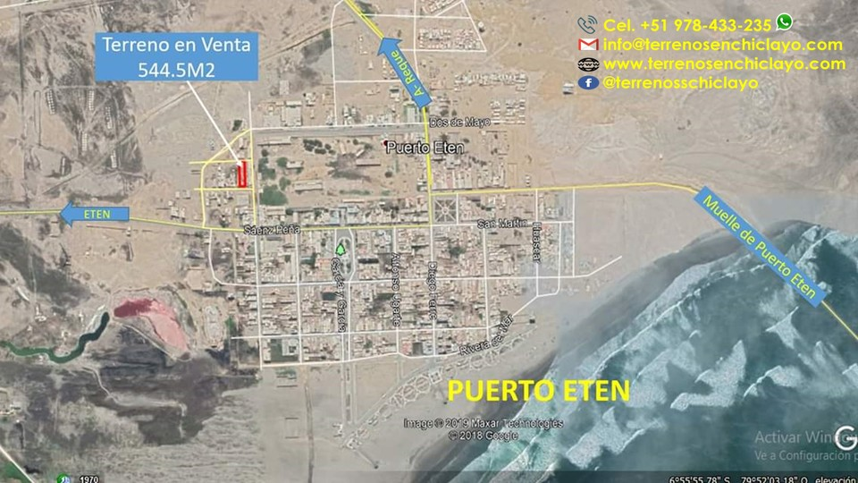 Venta de Terreno en Eten Puerto, Lambayeque 544m2 area total