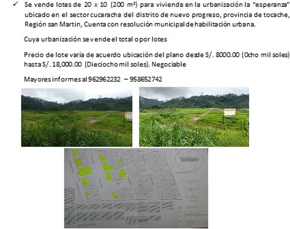 Venta de Terreno en Nuevo Progreso, San Martin 200000m2 area total