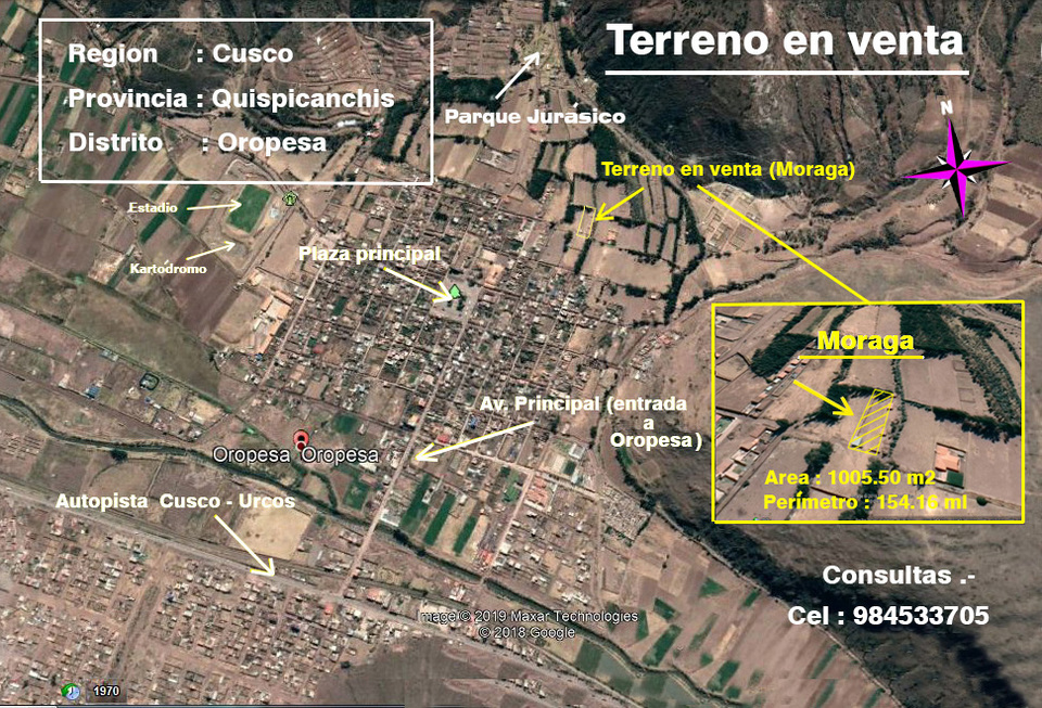 Venta de Terreno en Oropesa, Cusco 1005m2 area total