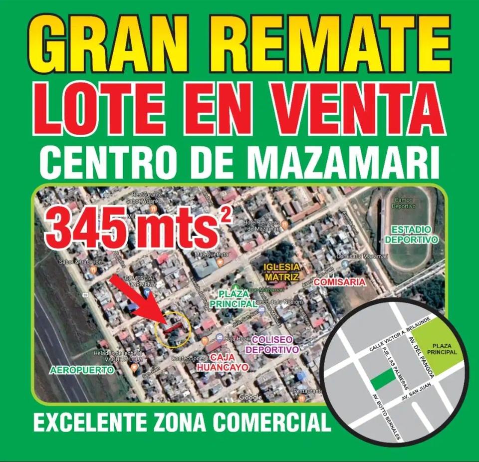 Venta de Terreno en Mazamari, Junin 345m2 area total
