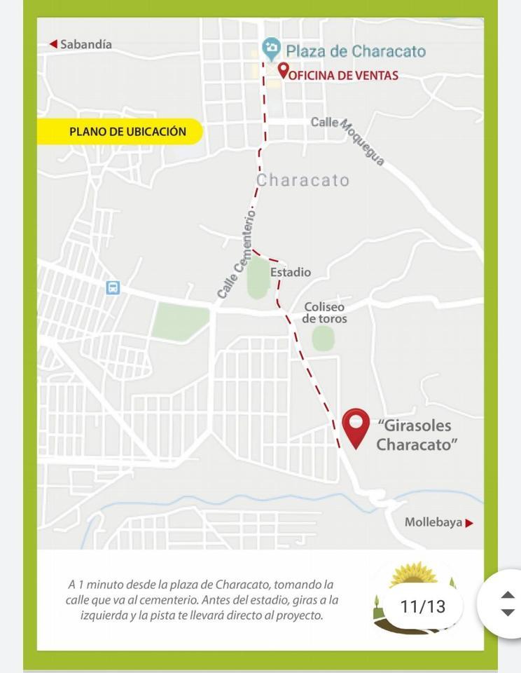 Venta de Terreno en Characato, Arequipa 12 metros fondo
