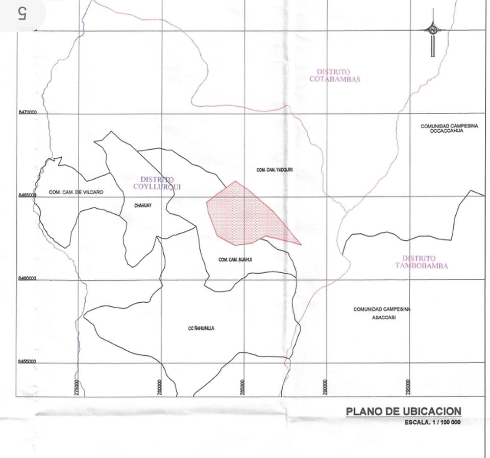 Venta de Terreno en Coyllurqui, Apurimac 12000000m2 area total
