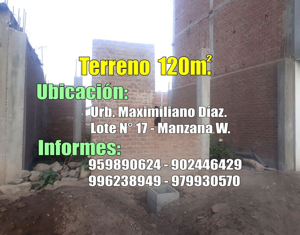Venta de Terreno en Jose Leonardo Ortiz, Lambayeque 120m2 area total