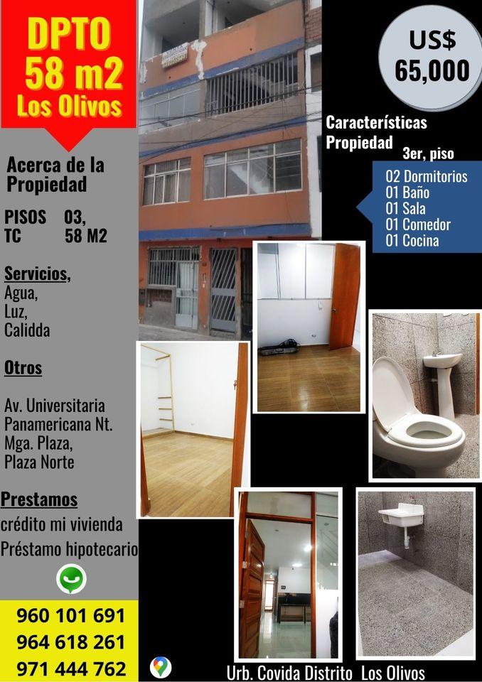 Venta de Departamento en Los Olivos, Lima con 2 dormitorios