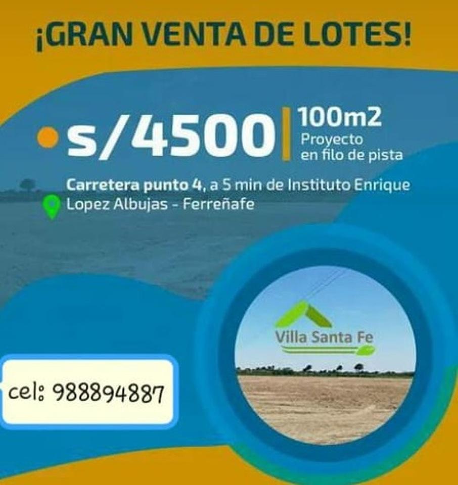 Venta de Terreno en Ferreñafe, Lambayeque 100m2 area total