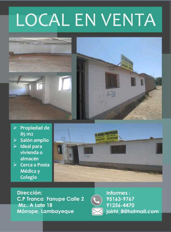 Venta de Local en Morrope, Lambayeque - vista principal