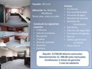 Alquiler de Oficina en Miraflores, Lima con 3 baños - vista principal
