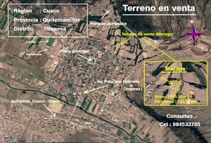 Venta de Terreno en Oropesa, Cusco 1005m2 area total - vista principal