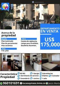 Venta de Departamento en Jesus Maria, Lima con 3 dormitorios - vista principal